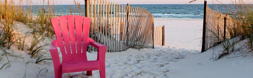 gulf shores beach, red beach chair at gulf shores beach