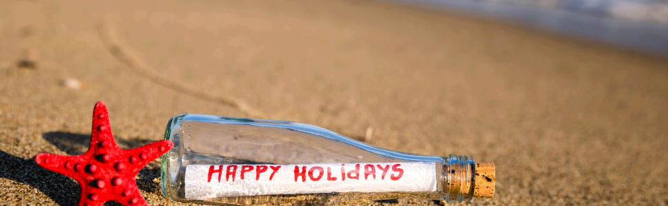 happy holidays message in a bottle